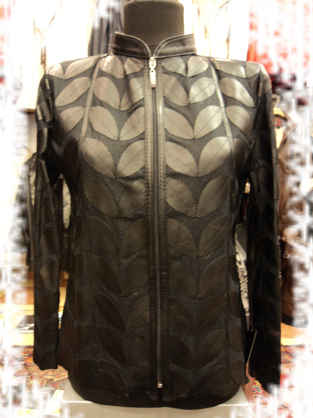 Black Leather Leaf Jacket