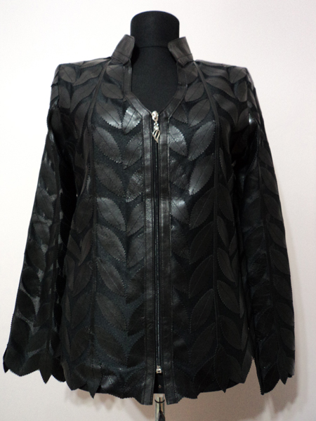 Black Leather Leaf Jacket for Women V Neck Design 08 Genuine Short Zip Up Light Lightweight [ Click to See Photos ]