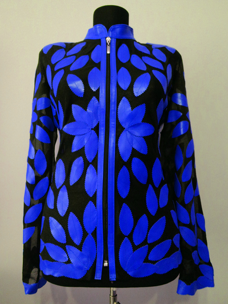 Blue Leather Leaf Jacket for Women