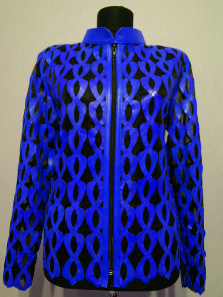 Blue Leather Leaf Jacket for Women Design 05 Genuine Short Zip Up Light Lightweight [ Click to See Photos ]