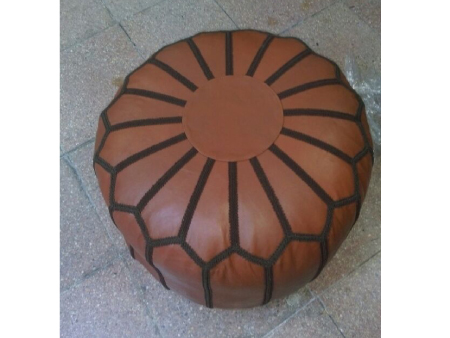 Brown Leather Pouffe Pouf Puff Footstool Ottoman [ Click to See Photos ]