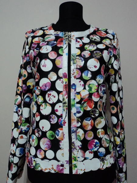 Flower Pattern White Leather Leaf Jacket for Women Design 07 Genuine Short Zip Up Light Lightweight [ Click to See Photos ]