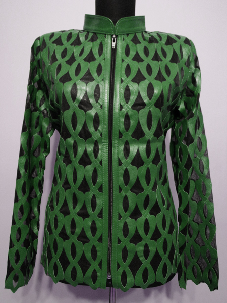 Green Leather Leaf Jacket for Women Design 05 Genuine Short Zip Up Light Lightweight