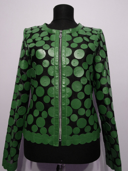 Green Leather Leaf Jacket for Women Design 07 Genuine Short Zip Up Light Lightweight [ Click to See Photos ]