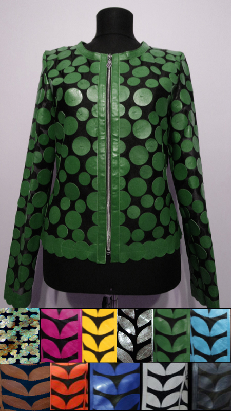 Leather Leaf Jacket for Women Design 07 Genuine Short Zip Up Light Lightweight [ Click to See Photos ]