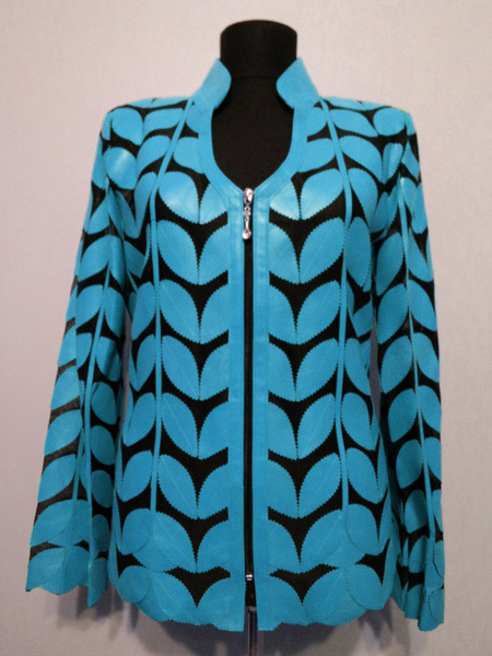 Light Blue Leather Leaf Jacket for Women V Neck Design 09 Genuine Short Zip Up Light Lightweight [ Click to See Photos ]