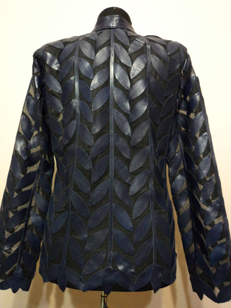 Navy Blue Leather Leaf Jacket for Women Design 04 Genuine Short Handmade Lightweight Meshed [ Click to See Photos ]