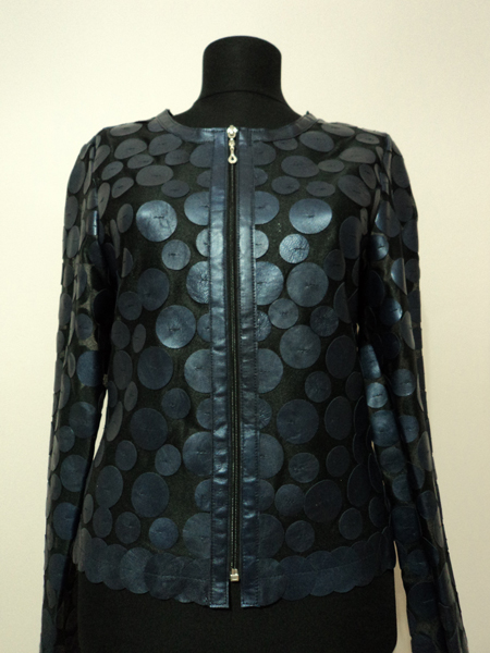Navy Blue Leather Leaf Jacket for Women Design 07 Genuine Short Zip Up Light Lightweight