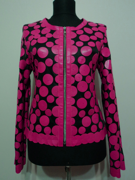 Pink Leather Leaf Jacket for Women Design 07 Genuine Short Zip Up Light Lightweight [ Click to See Photos ]