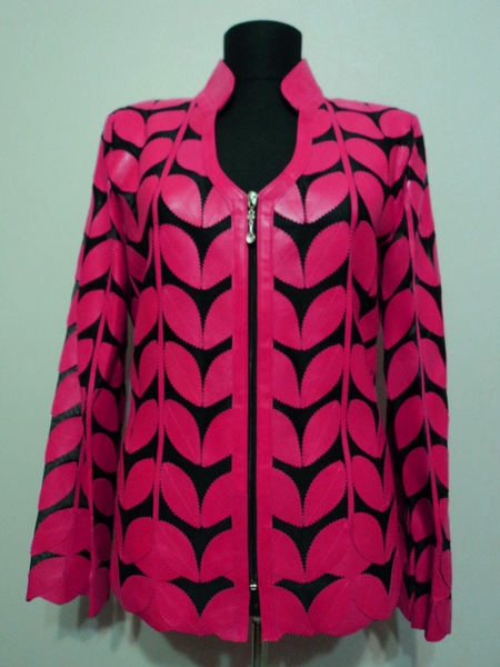 Pink Leather Leaf Jacket for Women V Neck Design 09 Genuine Short Zip Up Light Lightweight [ Click to See Photos ]