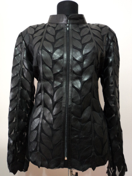 Plus Size Black Leather Leaf Jacket for Women Design 04 Genuine Short Zip Up Light Lightweight