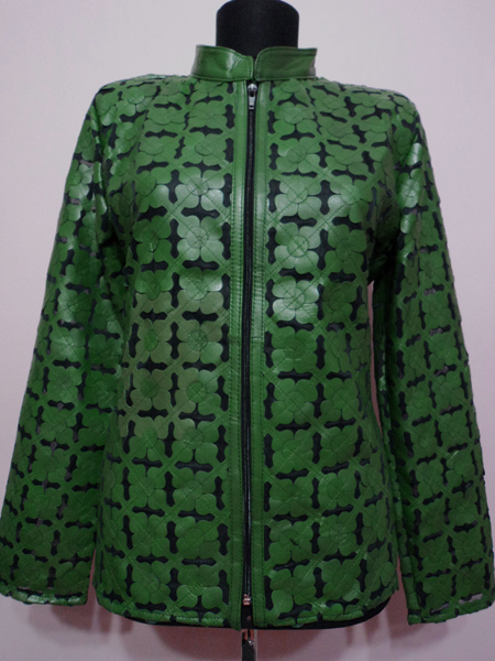 Plus Size Green Leather Leaf Jacket for Women Design 06 Genuine Short Zip Up Light Lightweight [ Click to See Photos ]