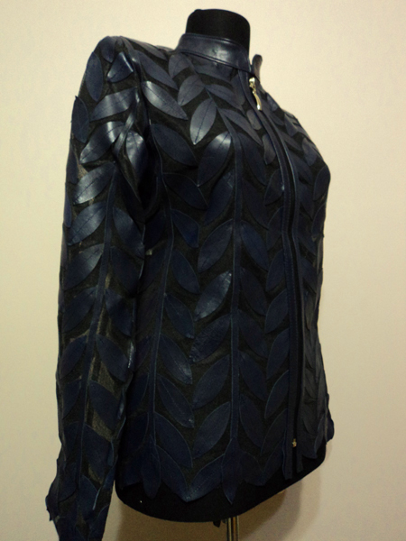 Plus Size Navy Blue Leather Leaf Jacket for Women Design 04 Genuine Short Zip Up Light Lightweight