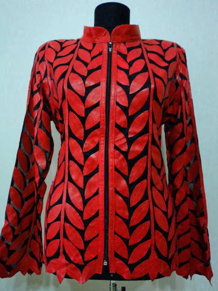 Red Leather Leaf Jacket for Women Design 04 Genuine Short Handmade Lightweight Meshed [ Click to See Photos ]