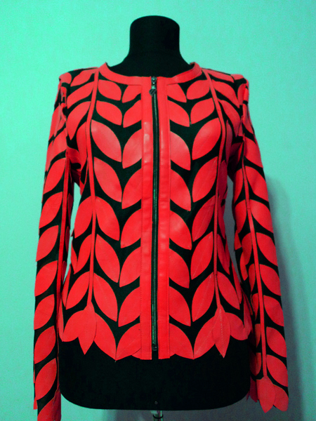 Red Leather Leaf Jacket for Women Round Neck Design 11 Genuine Short Zip Up Light Lightweight [ Click to See Photos ]