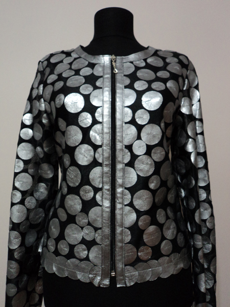 Silver Leather Leaf Jacket for Women Design 07 Genuine Short Zip Up Light Lightweight