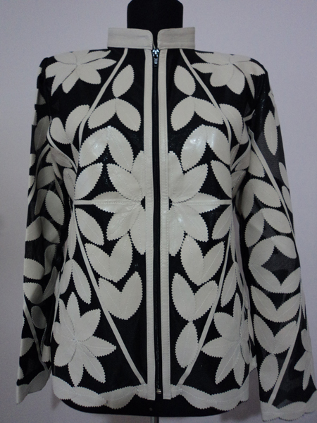 Womens Beige Leather Leaf Jacket [ Click to See Photos ]