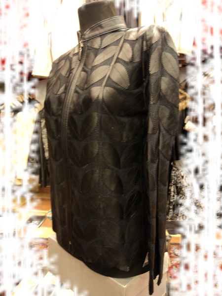 Black Leather Leaf Jacket for Women