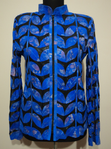 Flower Pattern Blue  Leather Leaf Jacket for Women [ Click to See Photos ]