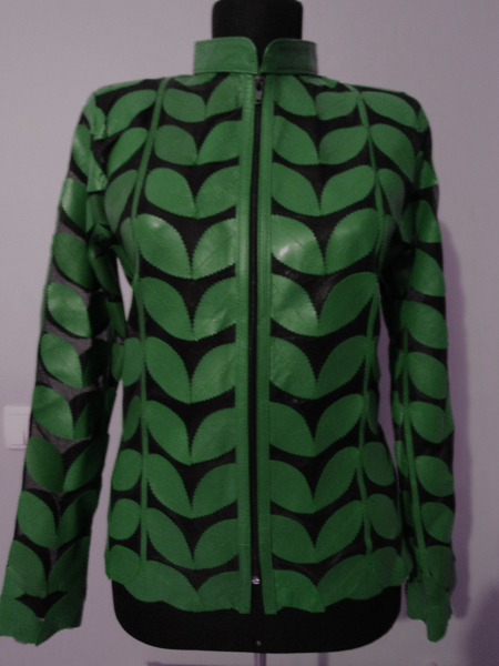 Green Leather Leaf Jacket for Women [ Click to See Photos ]