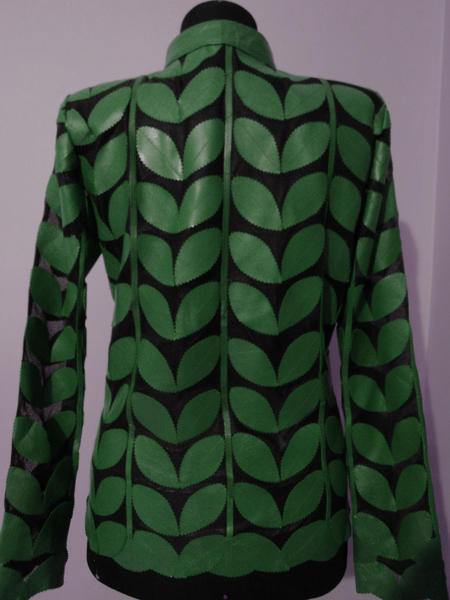 Green Leather Leaf Jacket for Women