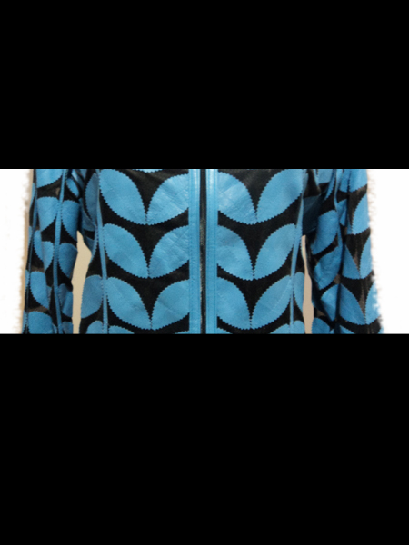 Light / Ice / Baby Blue Leather Leaf Bolero for Women