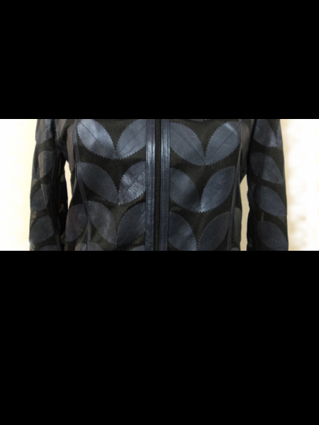 Navy Blue Leather Leaf Bolero for Women