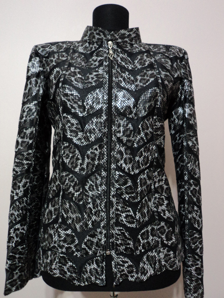Plus Size Black Leopard Pattern Leather Leaf Jacket for Women [ Click to See Photos ]