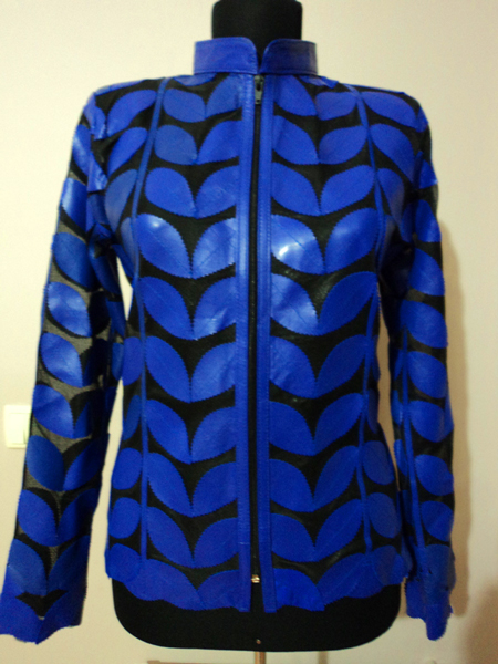 Plus Size Blue Leather Leaf Jacket for Women [ Click to See Photos ]