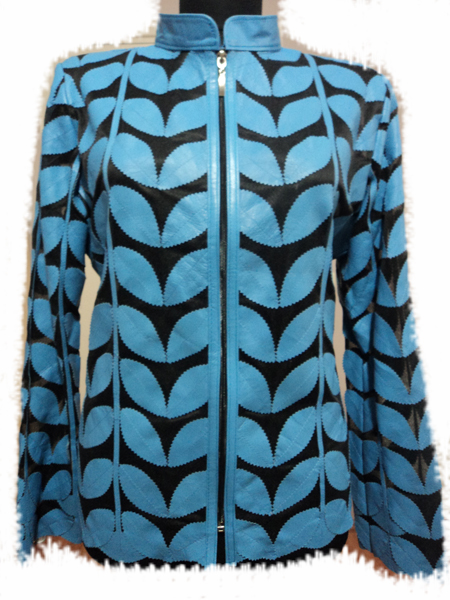 Plus Size Light / Ice / Baby Blue Leather Leaf Jacket for Women [ Click to See Photos ]