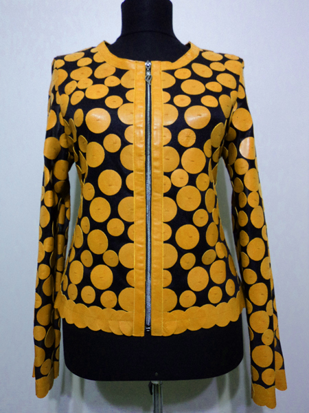 Yellow Leather Leaf Jacket for Women Design 07 Genuine Short Zip Up Light Lightweight [ Click to See Photos ]