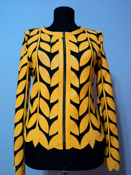 Yellow Leather Leaf Jacket for Women Round Neck Design 11 Genuine Short Zip Up Light Lightweight [ Click to See Photos ]